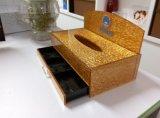 Caixa de tecido de acrílico vermelho com gaveta de armazenamento de cosméticos