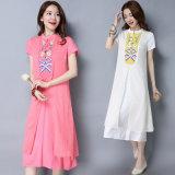 Платье вышивки сбор винограда женщин китайского типа свободное Linen