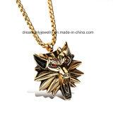 Ожерелье & шкентели Halloween ожерелья головки волка ожерелья золота с красными каменными глазами