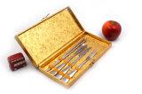 Нержавеющая сталь Cutlery 4 PCS установленная в деревянном золотистом случае цвета