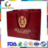 Мешок причудливый прямоугольных одежд бумажный с изготовленный на заказ логосом выбитым золотом