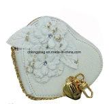 Borsa della moneta del fiore di promozione di bellezza del cuore del Faux delle donne di cuoio di figura