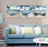 3部分の現代壁の芸術はキャンバスのホーム装飾Mc251で絵画ボートの絵画部屋の塗られた装飾によって組み立てられた芸術映像を印刷した