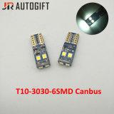 Fehlerlose T10 3030 6SMD W5w Canbus Birnen für Auto-Kfz-Kennzeichen-Lichter