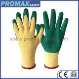 Het economische Beige Koord breide de Latex Met een laag bedekte Handschoenen van de Arbeid van het Werk