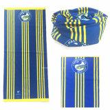 El producto del OEM modificó la piel de ante azul impresa insignia de la bufanda para requisitos particulares de la pista del pañuelo de los deportes promocionales