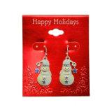 O mini Rhinestone Stars brincos de gota encantadores do Natal do boneco de neve do esmalte