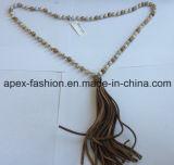 Collana di legno semplice con il filetto/i monili modo del cotone