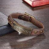 Heiße Verkaufs-Weinlese-Entwurfs-Punkart-Antike-Bronze überzogenes ledernes Armband