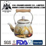 China Supplier Full Logo Impressão de esmalte Chaleira com alça de madeira