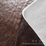 Tissu de Microfiber de tissu de suède d'or de clinquant avec le support tricoté