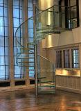 ガラスが付いている現代普及したガラス螺旋階段のホームデザインか螺旋階段