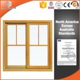 Salto térmico en color madera Ventana corrediza de aluminio para la casa residencial, doble acristalamiento de deslizamiento de vidrio templado de la ventana