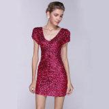短い袖のスパンコールの偶然の女性クラブ服、Vestidosの上品な服装の夕方のカクテルドレス