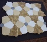 꽃 백색 대리석 디자인 모자이크, 돌 모자이크 디자인, 백색 대리석 모자이크