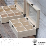 Rectángulo de almacenaje de madera de las bolsitas de té del precio al por mayor de Hongdao con el _E de madera de rectángulo de regalo del té de los compartimientos