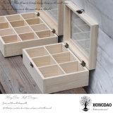 Hongdaoの卸売価格のコンパートメント茶ギフト用の箱木_Eが付いている木のティーバッグの収納箱