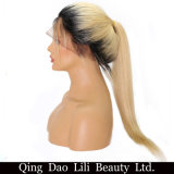 Volle brasilianisches menschliches Remy Haar des Spitze-Perücke Ombre 1b 613 blondes seidiges gerades Preplucked Haarstrich100%