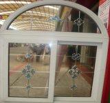 Neuer Entwurfs-moderne wasserdichte/schalldichte/Wärme-Isolieren Belüftung-schiebendes Fenster mit künstlerischem Glas und gewölbter Oberseite