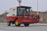 普及した小型タイプ大豆のコンバイン収穫機