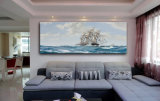 Peinture à l'huile en gros de décoration de qualité, peinture à la maison de décoration, peinture à l'huile de bateau à voile de peinture d'art)