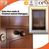 Porte en bois intérieure solide et modèles articulés de portes de constructeur de la Chine, belle porte d'entrée articulée en bois solide