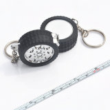 fabbrica di misurazione ecologica del nastro dell'acciaio inossidabile della mini Keychain del nastro di 100cm/39inch gomma d'acciaio del tester promozionale con il vostro marchio