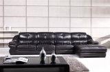 أسود جلد أريكة أثاث لازم حديثة بيتيّ ([هإكس-فز024])