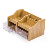 Multi organizador de madeira funcional da mesa com 2 gavetas
