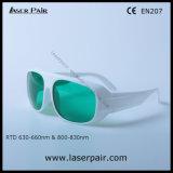 Transmissão de luz visível 30% dos óculos de segurança do laser para os lasers vermelhos 635nm e 808nm os diodos laser com moldura branca 52
