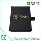 Caixa de jóia da corrediça do cartão do preto do logotipo do ouro