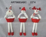 "22 ""H Dangle Legged Christmas Decoration Gift avec Basket-3asst"