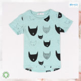 T-shirt nouveau-né bleu du vêtement 0-Neck de bébé de couleur