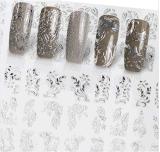 etiqueta de prata do prego das etiquetas da arte do prego de transferência da água da flor 3D