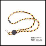 Lanière de chaîne de caractères de collet de corde tissée par coutume avec le réglage
