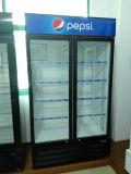 refrigerador vertical de la bebida de la puerta de cristal de la bisagra 1000L
