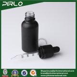 frasco de superfície preto geado do conta-gotas do petróleo essencial do conta-gotas do vidro de tampa de 30ml 1oz frasco branco