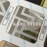 304 de couleur argent en acier inoxydable gaufré feuille Kem007