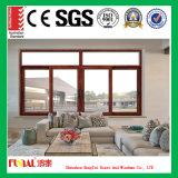 Madera de color anodizado de aluminio pulido ventanas de madera
