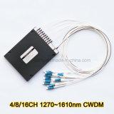 8 fibra CWDM ottico di Demux della Manica del multiplexor 16 di divisione di lunghezza d'onda della Manica
