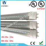 Una sola hilera AC85-285V T8 Blanco cálido de la luz del tubo LED 18W