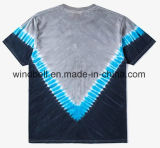 Vによって縞で飾られるタイの染料および白い文字の印刷を用いるジャージーの流行の男女兼用のTシャツ