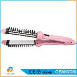Etiqueta Privada de fábrica alisadores Escova 2 em 1 modelador pente modelador de cabelo eléctrico de ferro