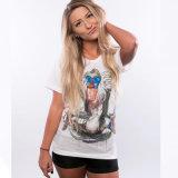 Nouvelles de l'été 100% coton imprimé col rond femmes T-shirts