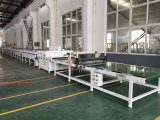 Nueva máquina de piedra de mármol artificial de la tarjeta de suelo del proceso estadístico del PVC de WPC con la capa ULTRAVIOLETA