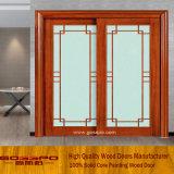 Elegante madera para puertas corredizas de cristal francés (GSP3-011)