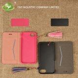 Случай кредитной карточки случая телефона бумажника C&T отделяемый кожаный с Tassel на iPhone 7