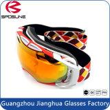 Lunettes unisexes antibrouillard de surf sur neige de PC de lentille de lunettes faites sur commande bon marché de ski avec de longues courroies réglables