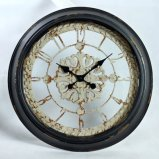 Reloj de pared francés antiguo redondo de la vendimia del metal