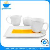 Jogo de café branco da porcelana com compra em linha